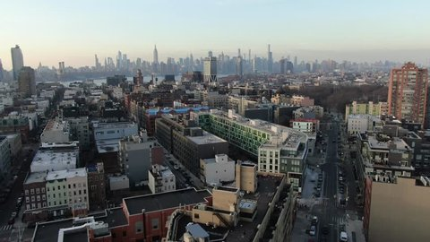Brooklyn, New York / USA - January 1, 2018 : Aerial of Williamsburg Brooklyn, surrounding neighborhoods and NYC Skyline.