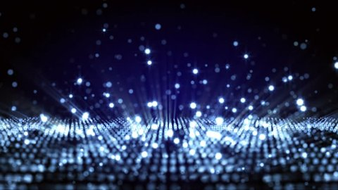 4K Abstract motion background animation shining particles form grid  rows and glowing rain drops regular pattern loop