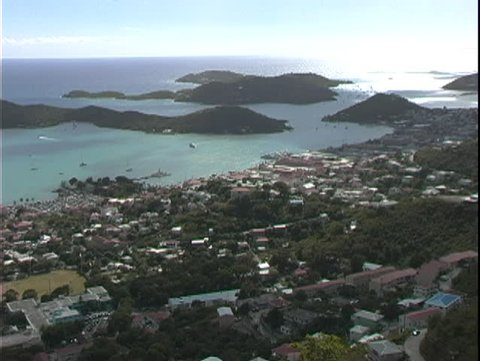 ST. THOMAS, U.S. VIRGIN ISLANDS, 2004, high view out of city and harbor
