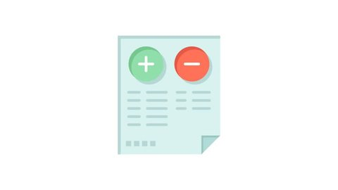 Pros, Cons, Document Line Icon Motion Graphic Animation