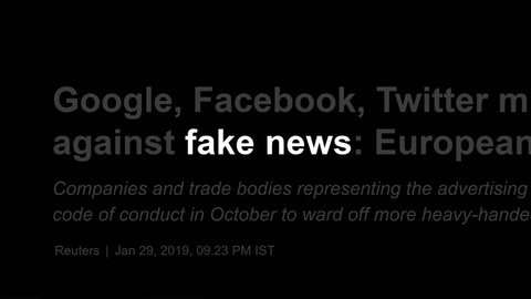 Cluj-Napoca, Romania - FEB 15, 2019: Zoom in - Fake News in the news titles across international media. Fake news concept. Fake news illustrative editorial