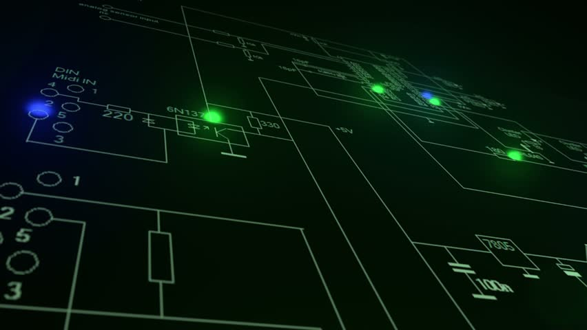 Circuit board scheme with moving electrons | Shutterstock HD Video #1024170269