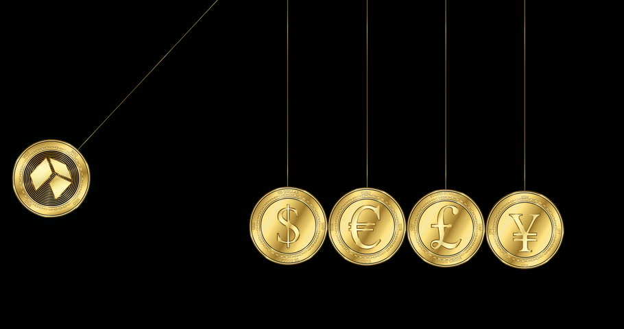 Gold coin with the NEO (NEO) cryptocurrency symbol demolish gold coins with symbols of the main world currencies - dollar, euro, yen and pound sterling in the shape of Newton cradle | Shutterstock HD Video #1024170989