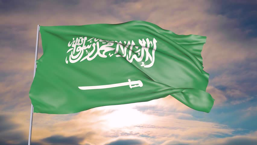Animation of the flag of the state of Saudi Arabia against the sky of the sun and clouds | Shutterstock HD Video #1024223129