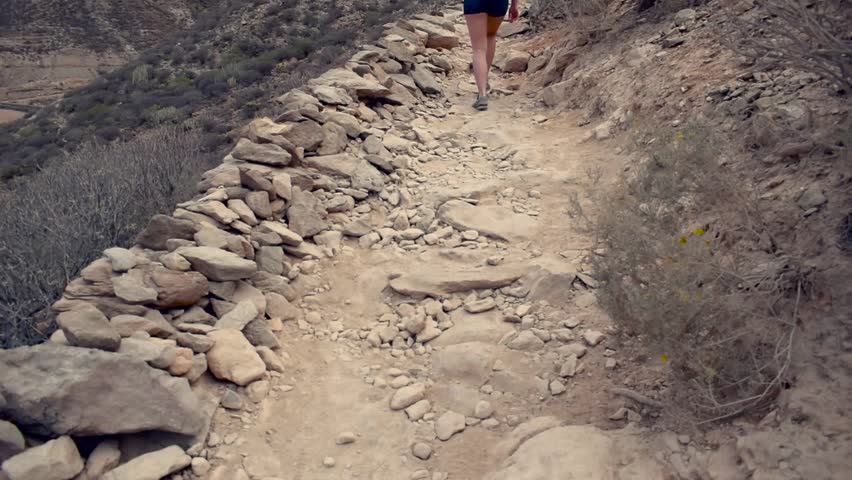 Hiking girl - waking shoes close up. Fit woman walking on hike path in mountains. First-person view. | Shutterstock HD Video #1024254899