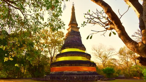 4K time lapse video of ancient pagoda in Umong temple, Thailand.