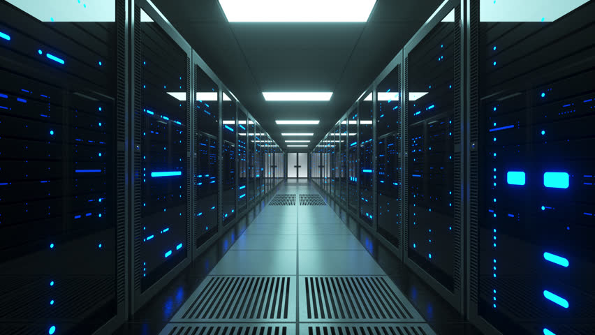 Network and data servers behind glass panels in a server room of a data center or ISP. Forward Dolly Shot, 4K High Quality Animation