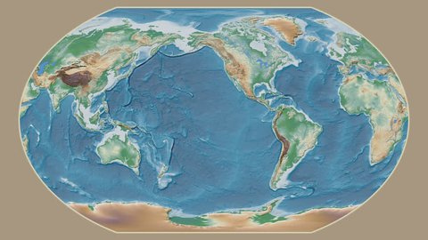 Estonia area presented against the global physical map in the Kavrayskiy VII projection with animated oblique transformation
