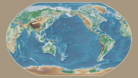 Ireland area presented against the global physical map in the Kavrayskiy VII projection with animated oblique transformation
