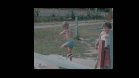 Baltimore, Maryland, USA- 1957: Kids play on old fashioned Miniature golf course