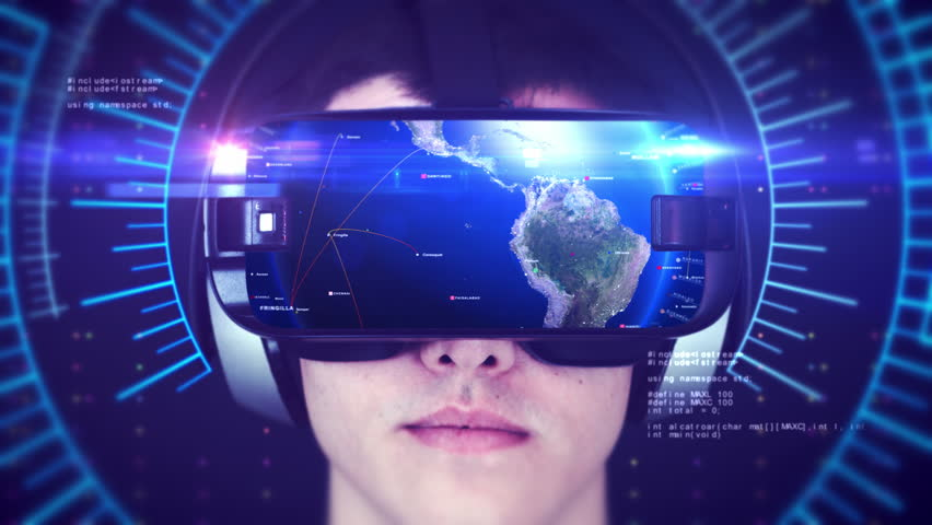 Young man wearing VR headset and experiencing 3D virtual reality. Technology related digital earth network concept. Seamless Loop. | Shutterstock HD Video #1024383359
