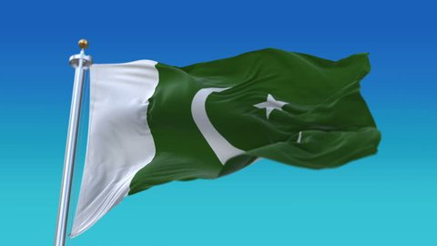 4k Seamless pakistan flag with flagpole waving in wind,fully digital rendering,The animation loops at 20 seconds,flag 3D animation.