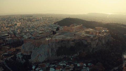 Acropolis rock at sunset, 4K footage