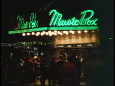 NEW YORK CITY, 1994, Theater District, Music Box Theatre, marquee, crowd