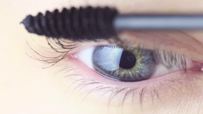 Macro View of Eye. Dyeing Eyelashes with Ink. Macro View. Makeup Concept. #1024435859