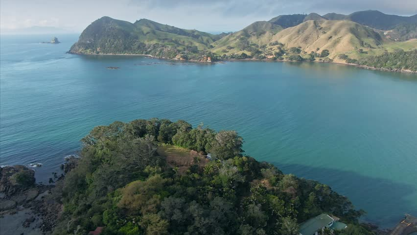 Aerial Over Native Forest, calm ocean at sunset in Port Charles. Coromandel Peninsula, New Zealand | Shutterstock HD Video #1024448669
