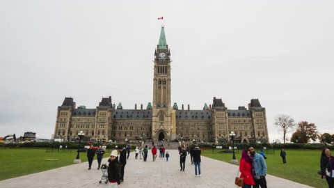 Ottawa, Canada, October 2018: Historic Canadian Parliament Building in Ottawa, many tourists visiting the sights. Hyperlapse video