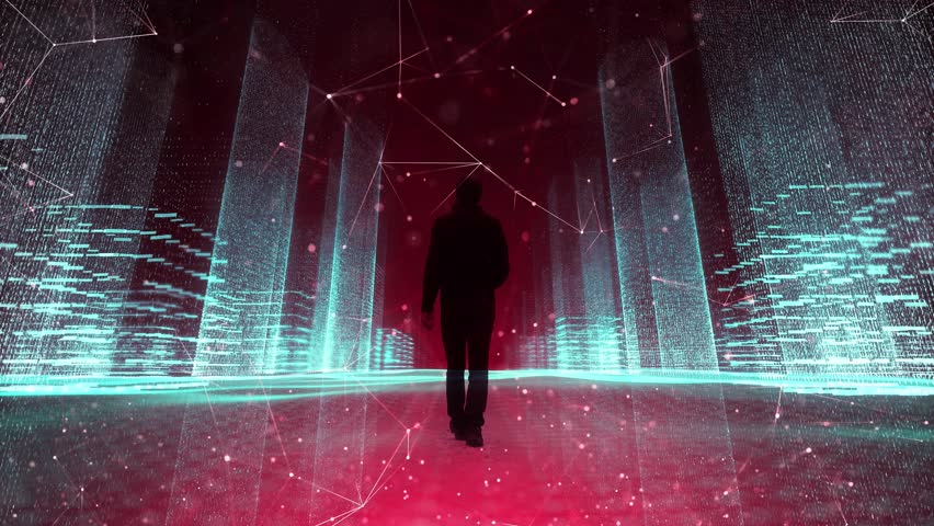 Person walking alone in futuristic digital cyberspace city. | Shutterstock HD Video #1024521389