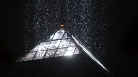 Las Vegas, NV - 02-21-2019 The Luxor Pyramid light in the snow on the Las Vegas Strip. Last time it snowed on the Strip was more than 10 years ago.