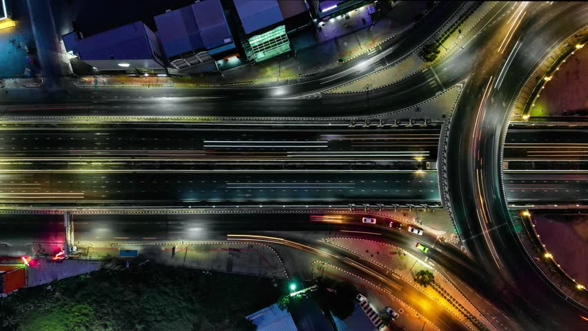 Expressway at night top view, Road traffic an important infrastructure in Thailand | Shutterstock HD Video #1024621109