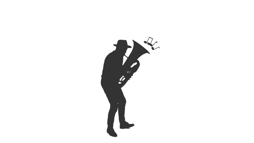 Silhouette of a jazz man in hat playing tuba and dancing, Full HD footage isolated on white background with LUMA MATTE | Shutterstock HD Video #1024660559