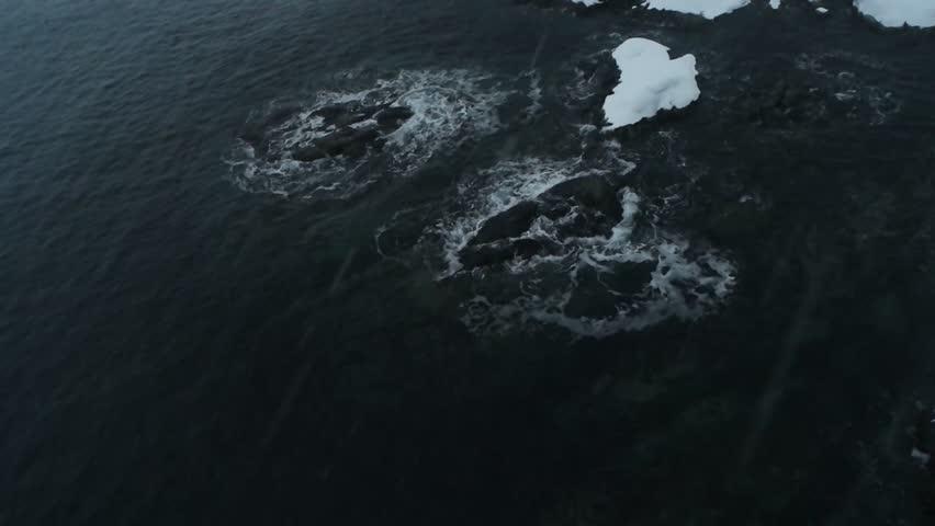 Rocks and sea surf, winter | Shutterstock HD Video #1024668059