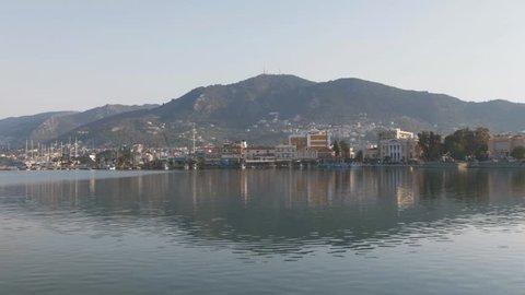 Mytilene, Greece - 09 13 2018: Mytilene scenic shot of harbor bay mountains