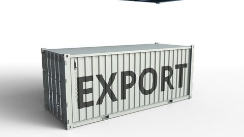 Container with flag of Argentina breaking container with EXPORT text. Conceptual 3D animation