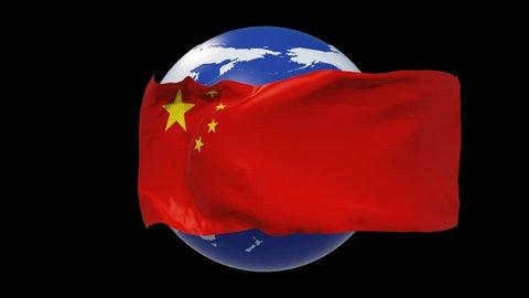 China Flag.China independence day. 3d animation China flag day. luma matte,alpha matte. 4k loop.