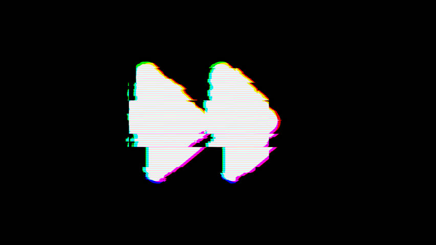 From the Glitch effect arises forward symbol. Then the TV turns off. Alpha channel Premultiplied - Matted with color black | Shutterstock HD Video #1024798709