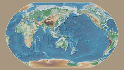 Venezuela area presented against the global physical map in the Kavrayskiy VII projection with animated oblique transformation