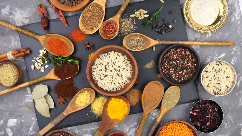 Spices and seasonings for cooking in the composition on the table #1024831649