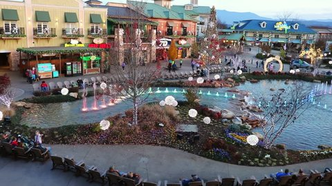 Pigeon Forge, Tennessee - November 29, 2018 : The Island show fountain in Pigeon Forge during the day time. Colorful lights synchronized with music.