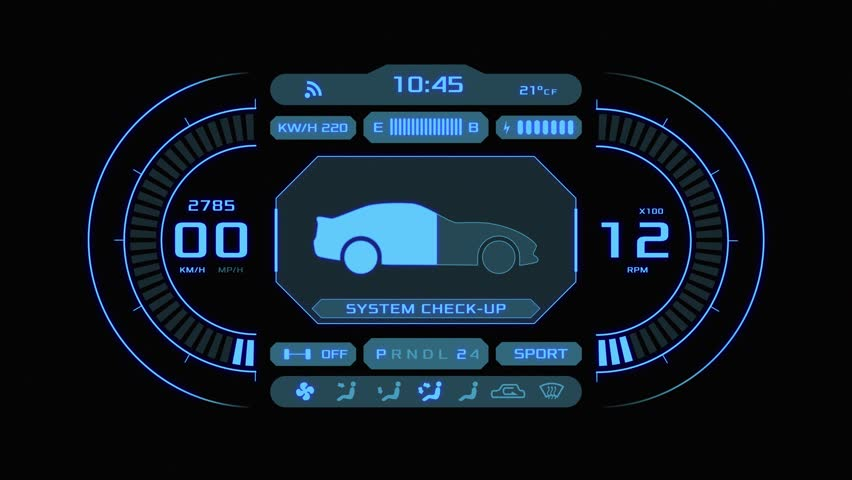 Front view of a futuristic car dashboard (3d render) | Shutterstock HD Video #1024909529