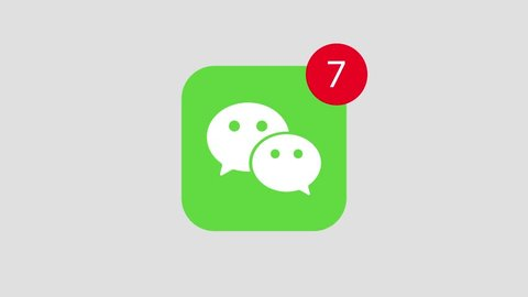 HILTON SOUTH AFRICA  JANUARY 25 2019: A motion graphic video animation illustrating the WeChat social media website logo app icon popup notification messages counting up