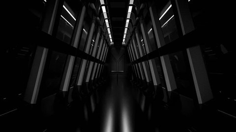 realistic dark night spaceship sci-fi corridor, 3D render.