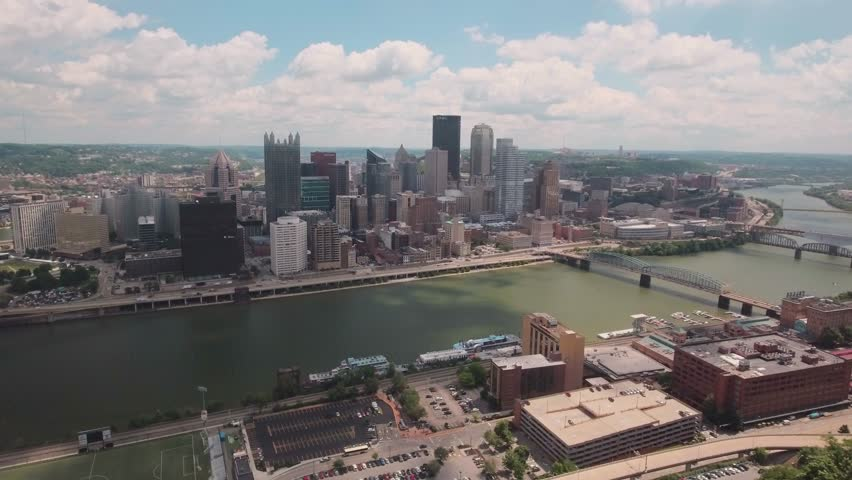 Pittsburgh skyline from above, on a sunny day. | Shutterstock HD Video #1024925999