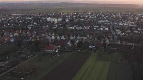 Aerial of Neulingen in late afternoon in autumn