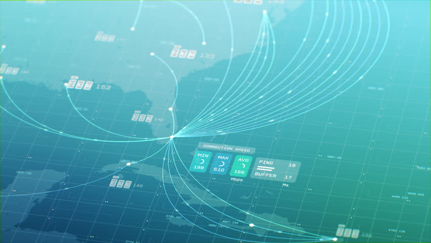 3D animation of 2D vector graphs charting coordinates, connections, data points with map of Florida and the Caribbean Islands in the background with bright green, blue colors. Created in 4k.