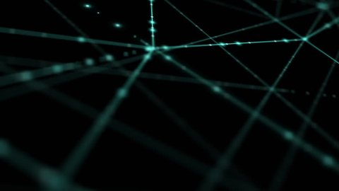 Abstract line lighting frame structure pattern wireframe polygon futuristic bokeh, digital data technology concept design on blue gradient background animation 4K with copy space