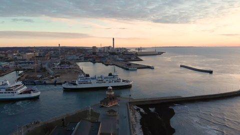 Helsingborg, Helsingborg / Sweden - 01 03 2019: Aerial of ferry in Helsingborg, Sweden
