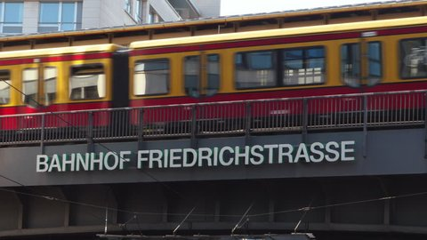 Berlin / Germany - July 14th: Close up of the Friedrichstrasse Railway Station in Berlin, with a train passing