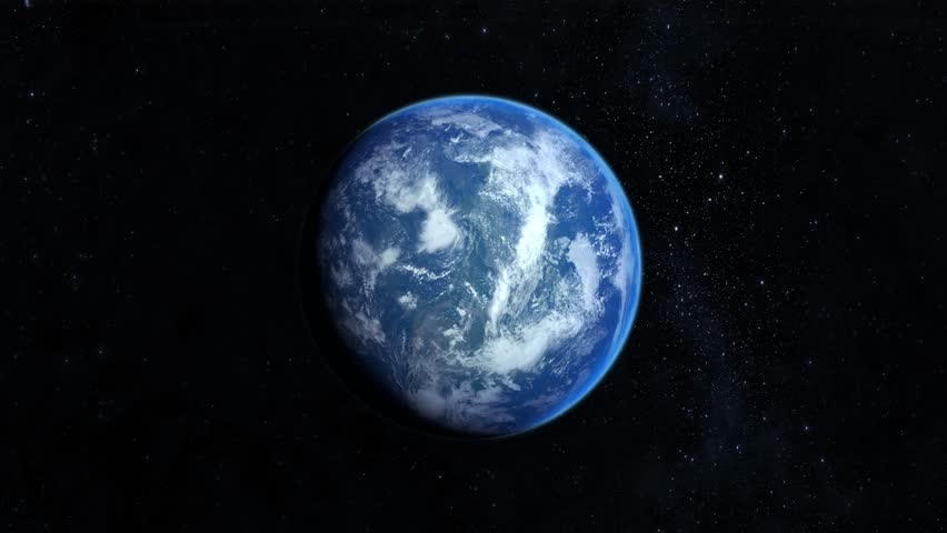 Earth from space. Stars twinkle. 4K. Almost full illumination by the sun. Realistic atmosphere. Starry sky. The earth slowly rotates. | Shutterstock HD Video #1025156399