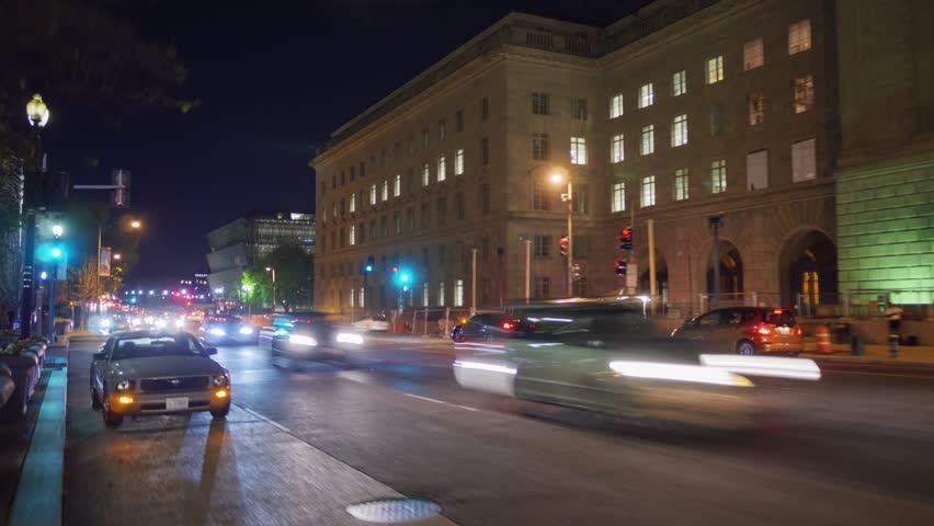WASHINGTON, DC - NOVEMBER 2016: Night hyper lapse walk on 14th Street Northwest towards the Madison Dr NW in Washington, DC, USA