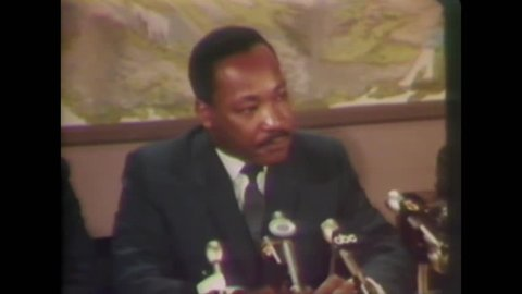 CIRCA 1968 - In an interview with the press, Martin Luther King says that though he can't guarantee an absence of riots in Washington DC.