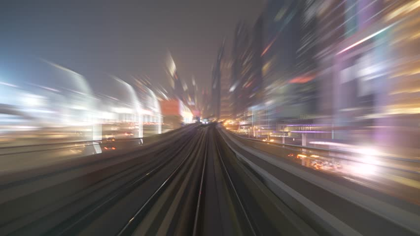 Train Railway Track Road Street Moving Fast in Urban Cityscape Architecture | Shutterstock HD Video #1025326349