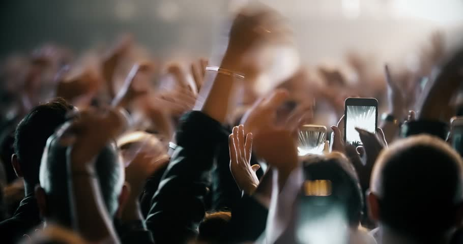 Popular Crowd singing artist cheering 4k rock pop music slow music rap music scene shows Concert crowd applause concert stage 4k concert hall neon Flood led nights club jumping hall waving silhouettes | Shutterstock HD Video #1025329799