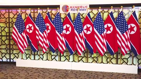 CIRCA 2019 - U.S. President Donald Trump meets with North Korean President Kim Jong Un at a summit in Vietnam.