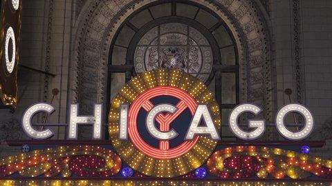 Chicago Light Show Sign in 4K
