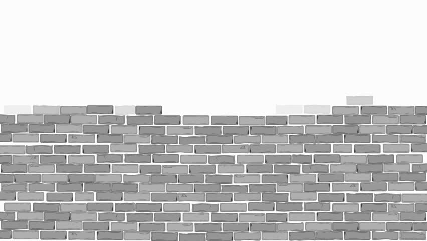 Brick wall construction. Gray bricks installing, building wall. Concept of construction, protection, craftsmanship and module structure. Foggy background. Almost black and white.